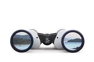 Gray binoculars on white background