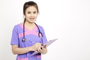 Smiling Asian medical doctor woman smile face