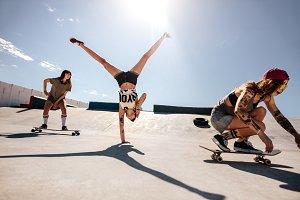Female skaters enjoying