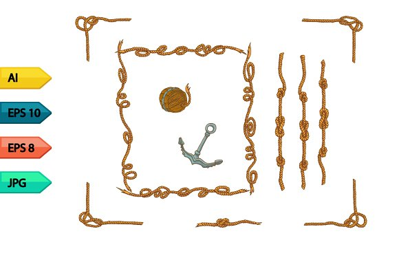 Rope Frames And Rope Knots Isolated