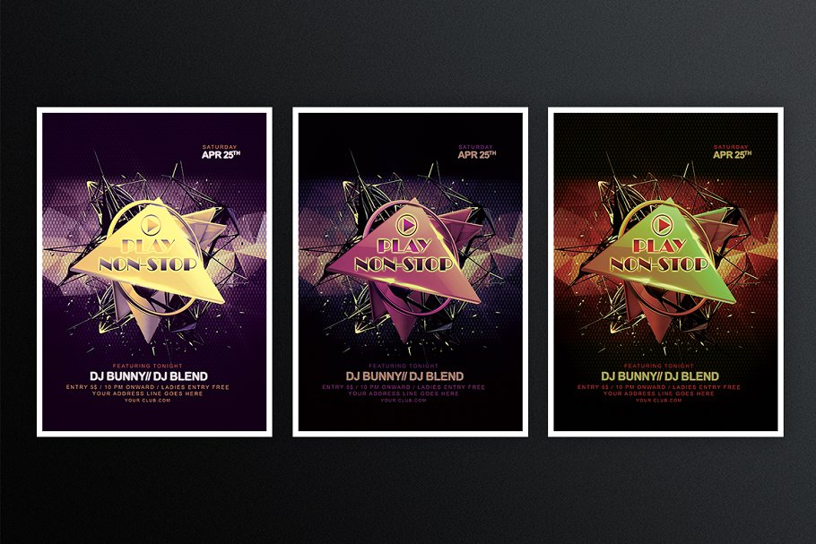 Play non-stop in Flyer Templates - product preview 2