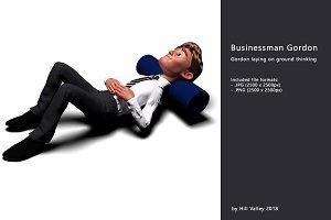 Businessman Gordon laying on floor