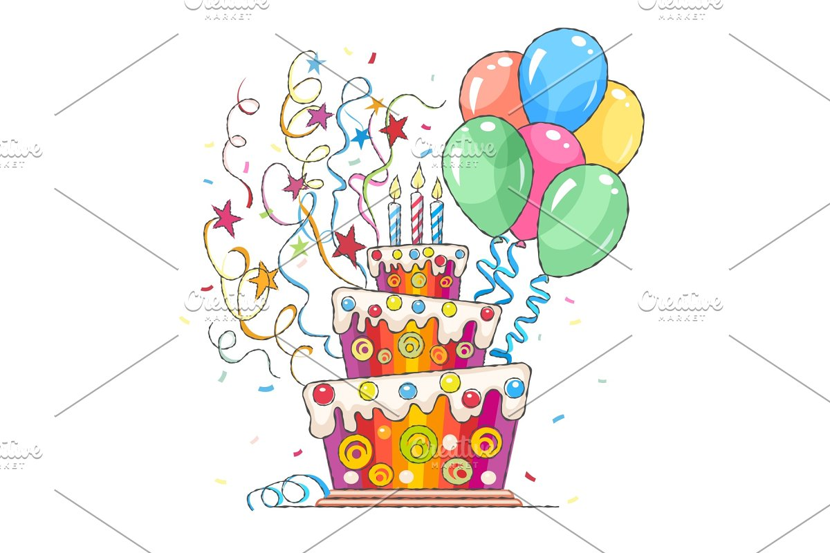 Awesome Birthday Cake Balls And Greetings Custom Designed Illustrations Personalised Birthday Cards Veneteletsinfo