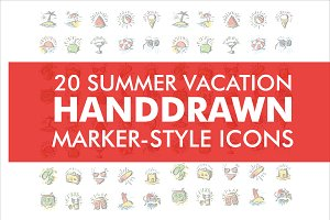 Summer Handdrawn Marker-Style Icons