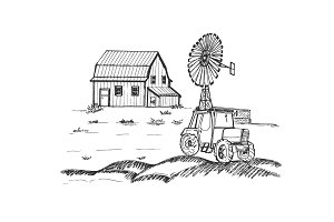 Farm with tractor and windmill