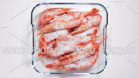 Time-lapse Defrost Shrimp Top View