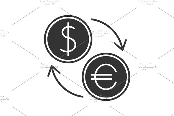 Currency Exchange Black Icon