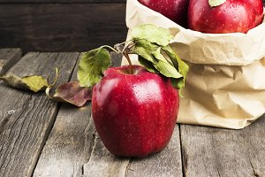 Apples in paper package