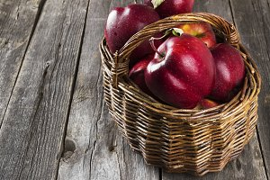 Harvest of red apples