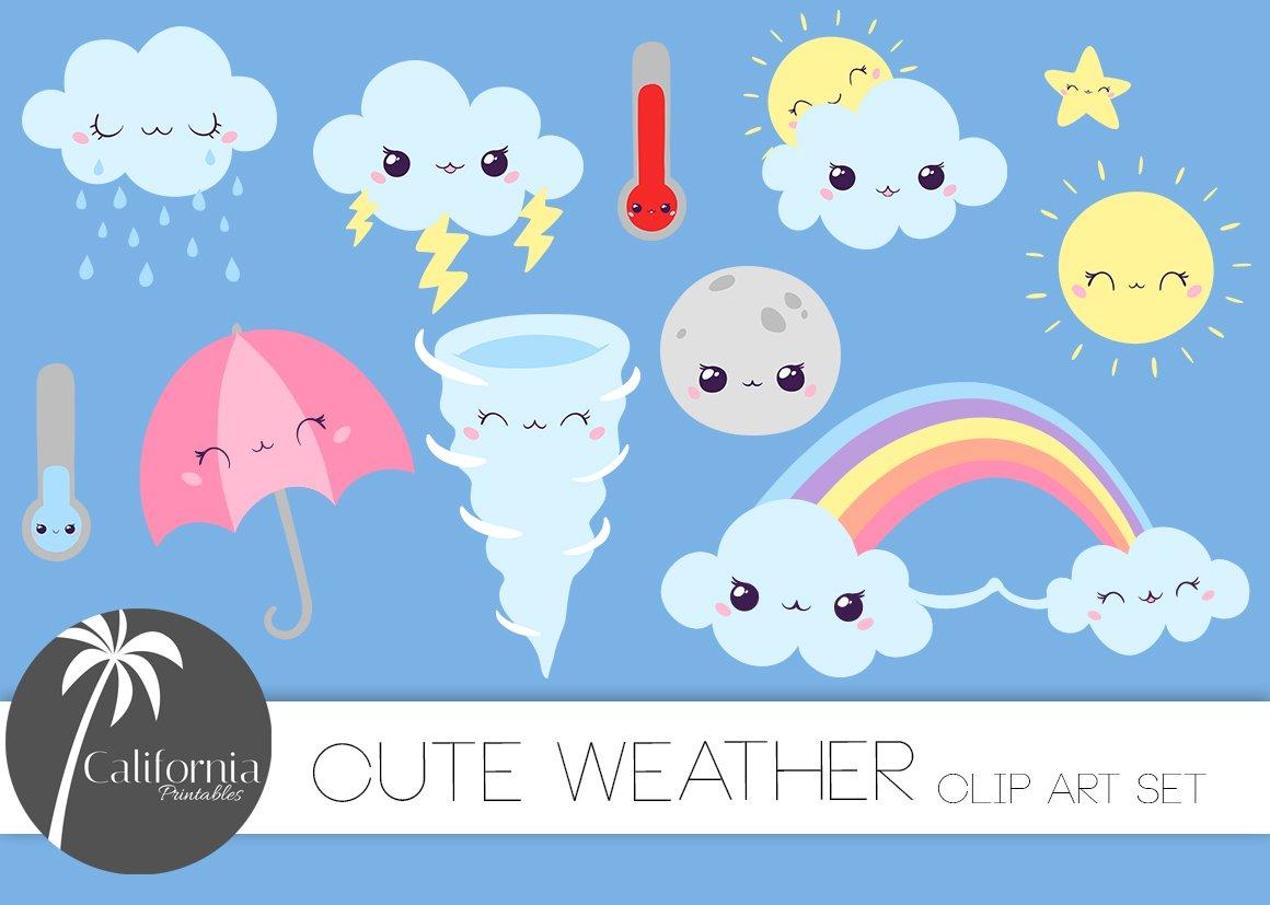 Cute Weather Clip Art ~ Illustrations ~ Creative Market