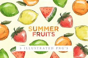 Summer Fruits | Illustrated PNGs