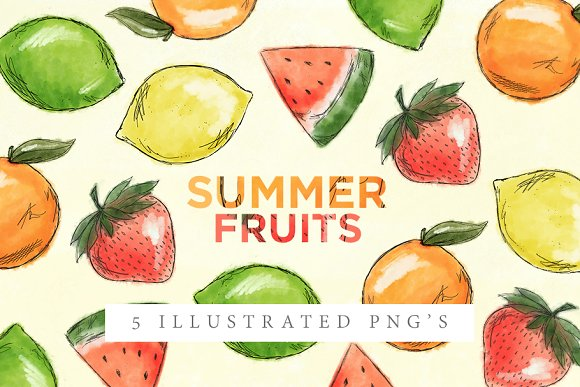 Summer Fruits Illustrated PNGs