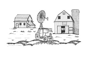 Farm barn tractor windmill