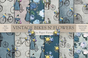 Vintage bikes and flowers