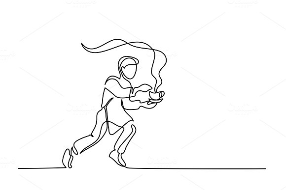 Boy garson running with cup of tea coffee in Illustrations