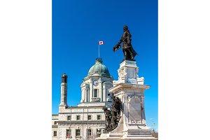 Monument to Samuel de Champlain in Quebec City, Canada