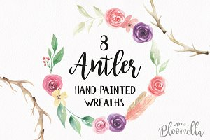 Antler Floral Wreath Watercolor Set