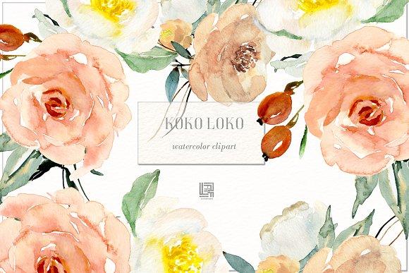 Koko Loko Watercolor Floral Clipart