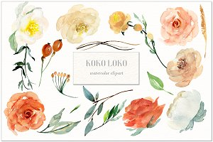 Koko Loko. Watercolor floral clipart
