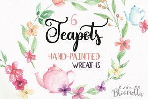 Teapot Watercolor Flower Wreaths Kit