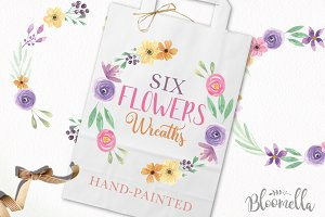 6 Watercolor Flower Wreaths Clipart