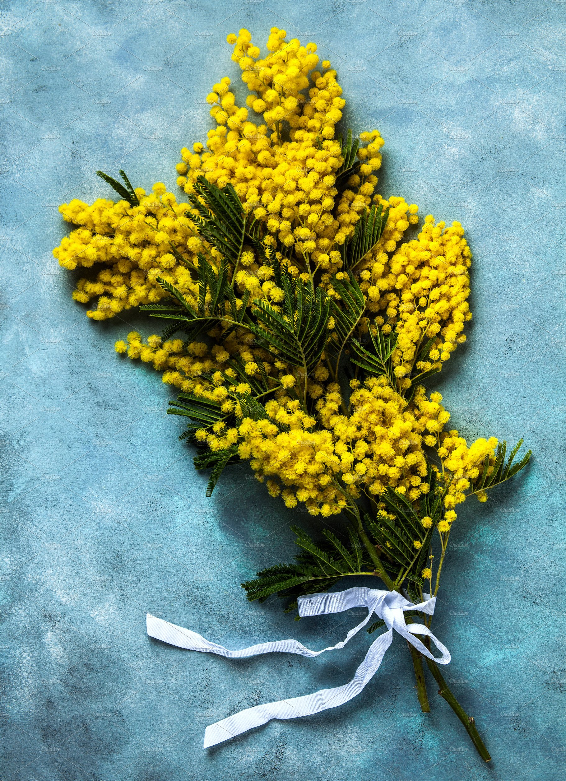 Yellow Mimosa Bouquet On Blue Backgr Food Images Creative Market