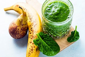 freshly prepared green smoothies wit