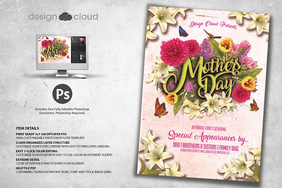 mothers day flyer template flyer templates creative market