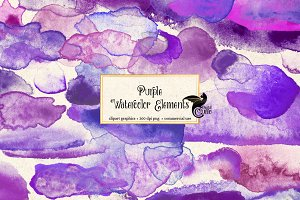Purple Watercolor Paint Elements