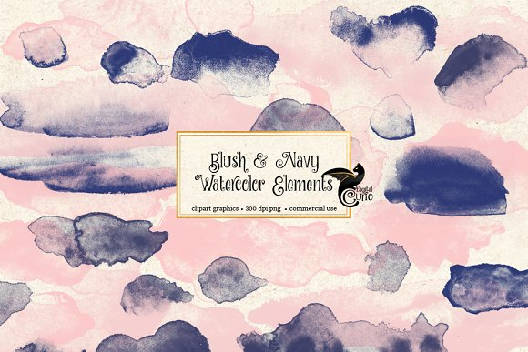 Blush And Navy Watercolor Elements