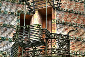 Wrought iron balcony and bench