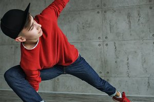 Teenager guy dancing breakdance