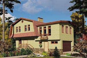 3D visualization. Yellow brick house