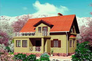 3D visualization. Yellow brick house