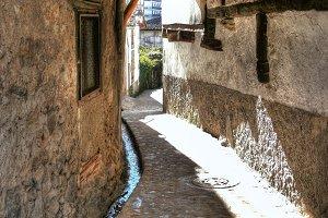 Narrow alley in rural village