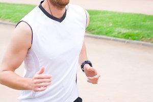 man doing running in the park