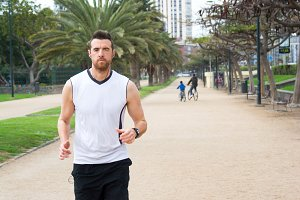 man doing running in the park