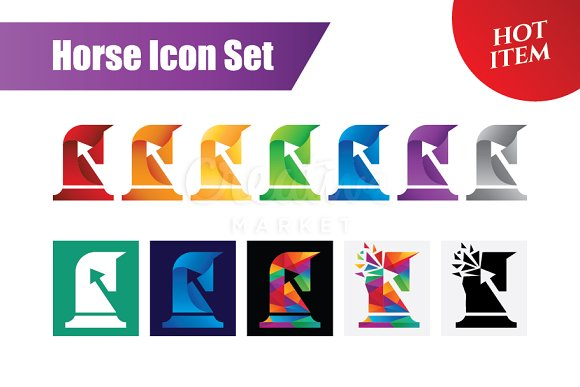 Horse Icon Set Logo