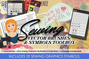 Sewing Vector Brushes and Cliparts