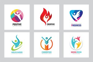 Human People - Vector Logo Set