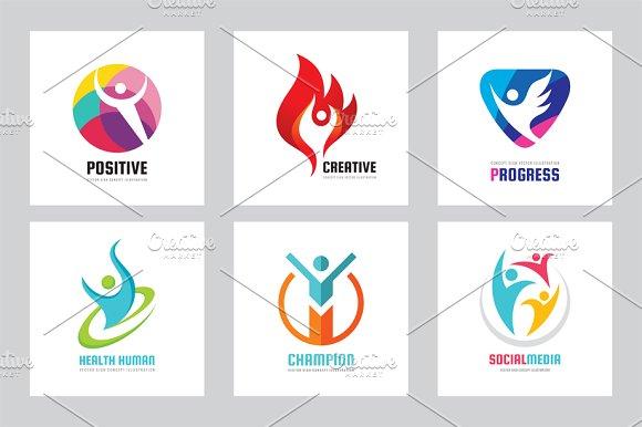 Human People Vector Logo Set