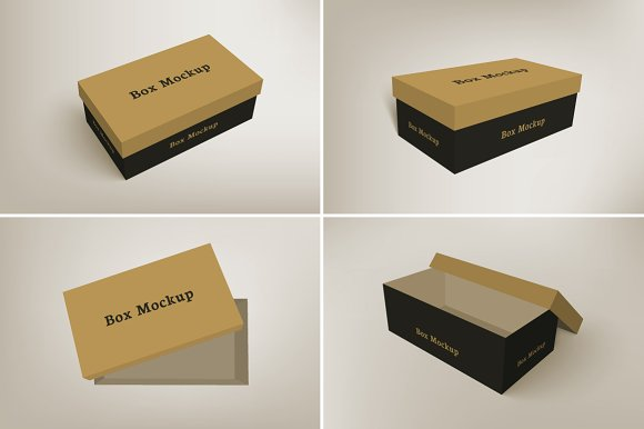 Free Shoes Packaging Box Mockup