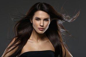 beautiful girl with long flying hair