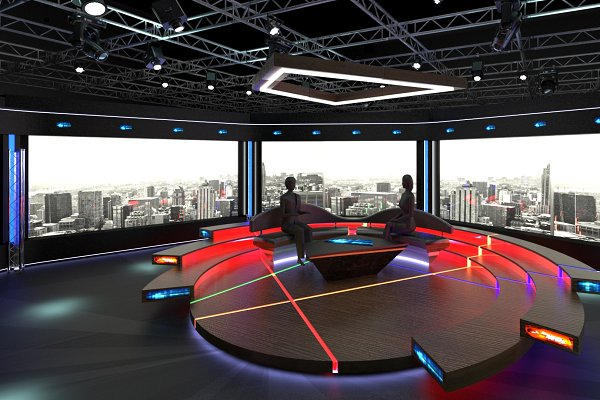Virtual TV Studio News Set 1 ~ Furniture Models ~ Creative Market