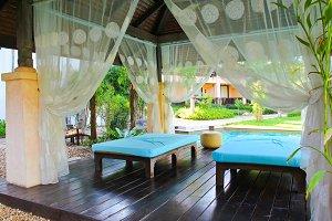Outdoor massage in tropical garden