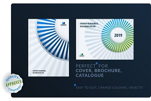 Template. Creative blue green abstract minimal design of brochure set, annual report, horizontal cover