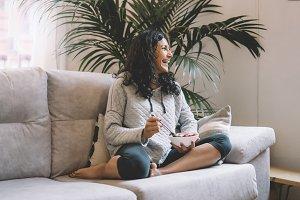 Woman drinking organic