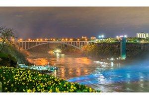 The Rainbow Bridge between USA and Canada at Niagara Falls.