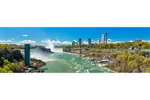 View of Niagara Falls from the Rainbow Bridge, the US - Canadian border