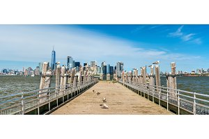 Skyline of Manhattan from the Old Ferry Dock on Liberty Island